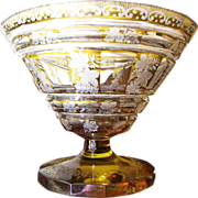 Large Art Deco Bohemian Amber Cut Lead Crystal Centerpiece Bowl