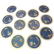 Twelve 1920's Royal Doulton Gilt Hand Painted Dinner Plates
