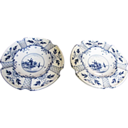 "A Pair of German Delft Style 7"" Ashtrays"