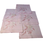 """5 Hand Embroidered Pink Pure Linen 18"""" Napkins"""