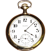 WW1 Elgin 17 Jewel 14K Gold Pocket Watch, Super Condition