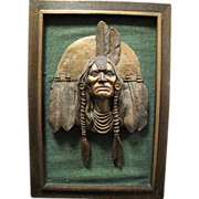 Vintage Chalkware American Indian Chief Picture