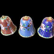 Vintage Lillian Vernon Cloisonne Set of 3 Bells