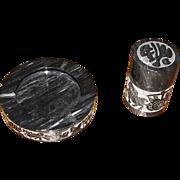 Stylish Engraved Onyx Cigarette Holder & Ashtray Set, Mint!