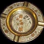 Vintage Etched & Enameled Brass Cigar Ashtray, Ornate Flower & Leaf Design, Made in India