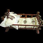 Darling Antique Rocking Doll Cradle, Custom Bedding!