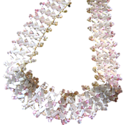 "1 Foot Section 3/4"" Wide Pink & White Glass Bead Trim (up to 19 Ft available)"