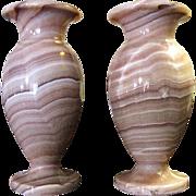 Gorgeous Pair of Vintage Pink Alabaster Vases