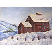 Large Vintage Impressionist Oil on Canvas, Snowy Barn Scene