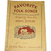 1958 Favorite Folk Songs Arranged for Piano Solos by Beryl Joyner