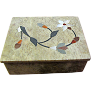 Lovely Hand Inlaid Oblong Soapstone Box by Fetco of India