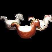 Three 70's Hand Painted Italian Art Pottery Ceramic Horse Bowls