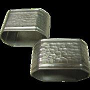 Nice Pair of Hammered Pewter Napkin Rings