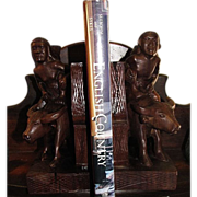 Vintage Hand Carved Hardwood Bookends a Man and Woman Riding Water Buffalo