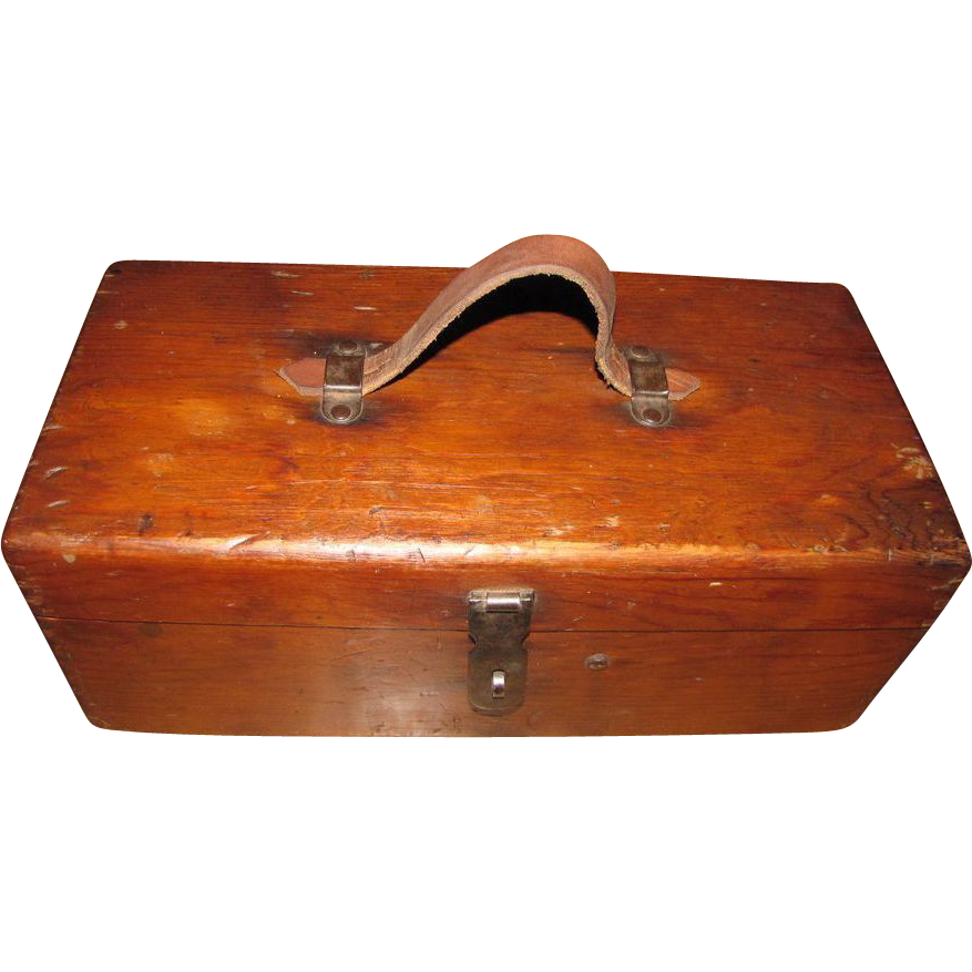 Classic early vintage angler 39 s wood fishing tackle box w for Fishing tackle box
