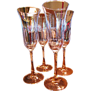 Lovely Set of 4 Hand Blown Glass Pink Stemmed Wine Flutes