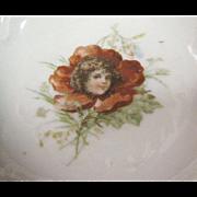 Pair of Pretty Antique Flower Headed Girl Trinket Trays