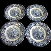 Set 4 Staffordshire Liberty Blue Salad Plates