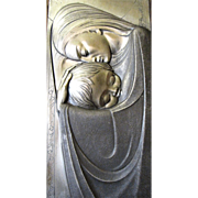 Art Deco Pressed Metal Wall Art of Mother & Child