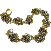 Vintage Gold Tone Avon Heirloom Rose Link Bracelet