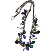 Cultured Freshwater Pearl & Glass Bead Drippy Chain Necklace