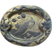 Antique Spelter Oriental Plaque with Dragons & Peacocks