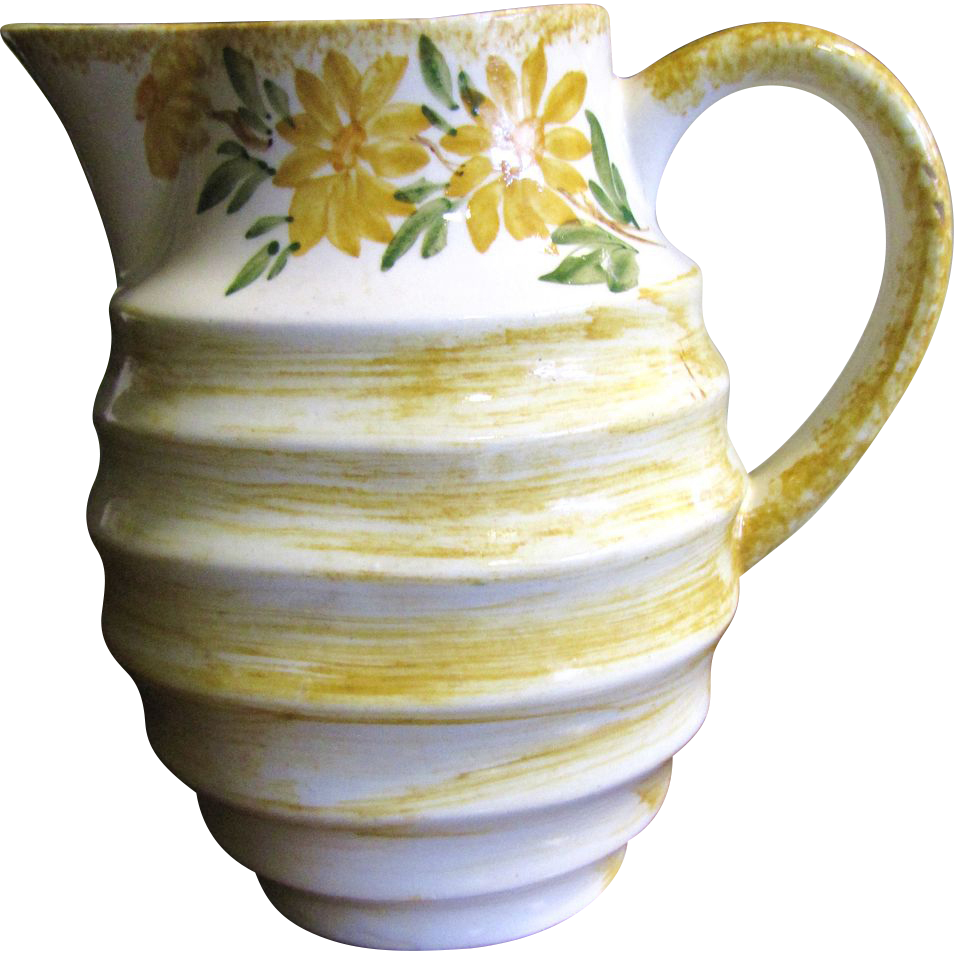 """Pretty Yellow Floral 6""""  Cash Family Pottery Pitcher"""