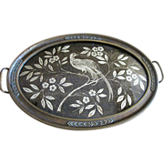 Art Deco Metallic Brocade & Bronzed Gesso Tray, Bird of Paradise