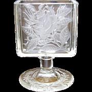 Elegant Vintage Glass Cigarette Pack Holder with Frosted Floral Design