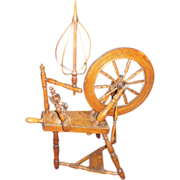 Museum Quality 1806 Oak Flax Spinning Wheel. Original Bird Cage