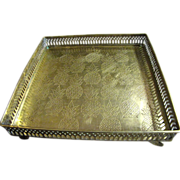 "Ornate Pineapple Design Reticulated 10"" Square Footed Brass Tray"