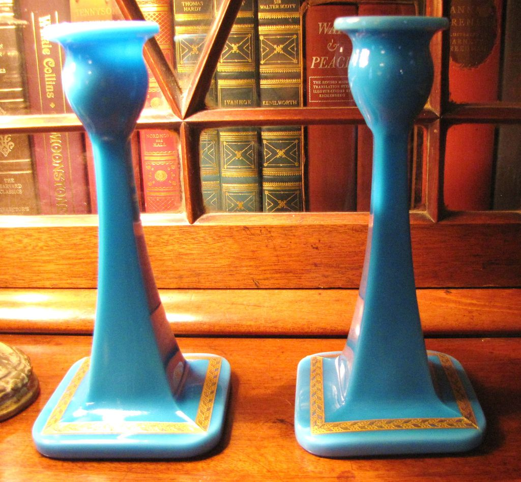 Beautiful Pair of Cambridge 1920's  Blue Azurite Candlesticks