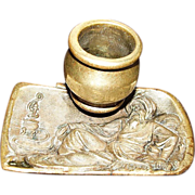 Vintage Orientalist Bronze Ashtray, Nargile Relief of Persian Man Smoking a Hookah