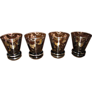 Set of 4 Victorian Venetian Sterling Overlay Liquor Glasses