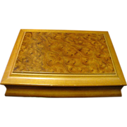 Large Blond Hardwood Jewelry Box with Fitted Two Layer Interior