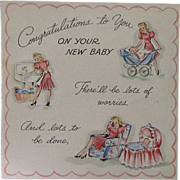 Vintage 1943 Unused New Baby Congratulations Card