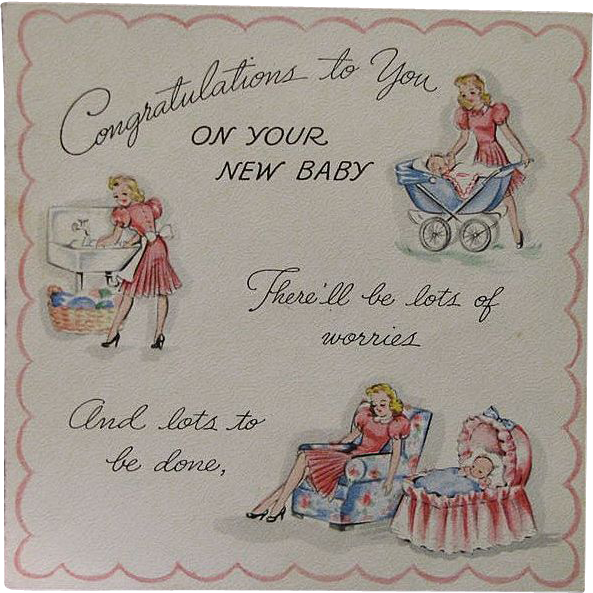 Vintage 1943 Unused New Baby Congratulations Card From