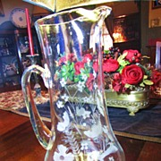 "Beautiful Huge 13"" Etched and Cut Glass Pitcher with Flowers, Leaves!"