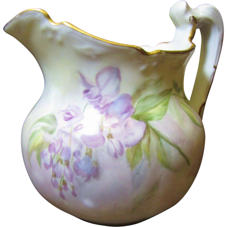 Beautiful Limoges Small Hand Painted Pitcher Fay Wray