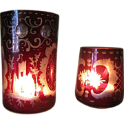 Lovely Pair of Bohemian Ruby Cut to Clear Votive Holders