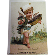 Antique Trade Card circa 1900 - Compliments of the Season! Shaub & Burns