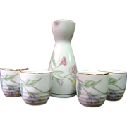 Japanese Porcelain Floral Sake Set with 4 Cups