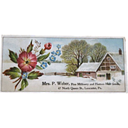Antique Embossed Pink & Blue Bouquet with House, Mrs. P. Weber, Fine Millinery and Human Hair Goods Trade Card