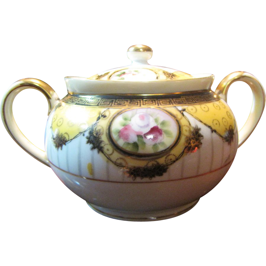 Beautiful Noritake Nippon Hand Painted Covered Sugar Bowl