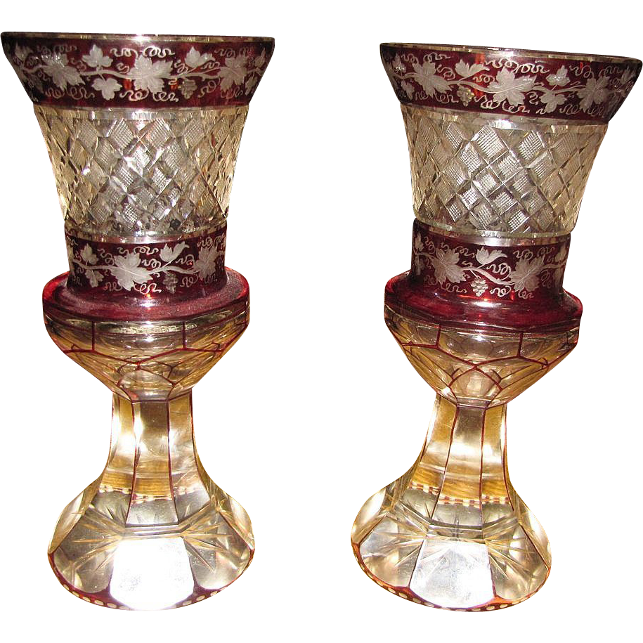 pair of antique bohemian ruby red ornate cut to clear 11 vases fay wray antiques ruby lane. Black Bedroom Furniture Sets. Home Design Ideas