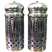 Elegant Pair of Silver Plated Shakers with Cobalt Glass Liners