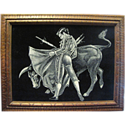 Retro Matador Fighting Bull Painting on Velvet with Carved Wood Frame