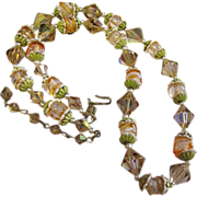 "Gorgeous 1950's Arora and Art Glass Bead 20"" Necklace"