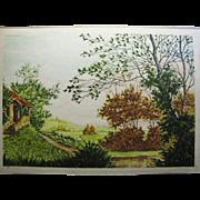 """Paul Granville Aquatint Etching, """"Le Ormeau"""", Paris Etching Society 13 X 19 $35.00"""