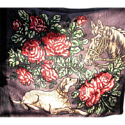 Stunning Horse & Hound Buggy Blanket, Horse Has Glass Eye!